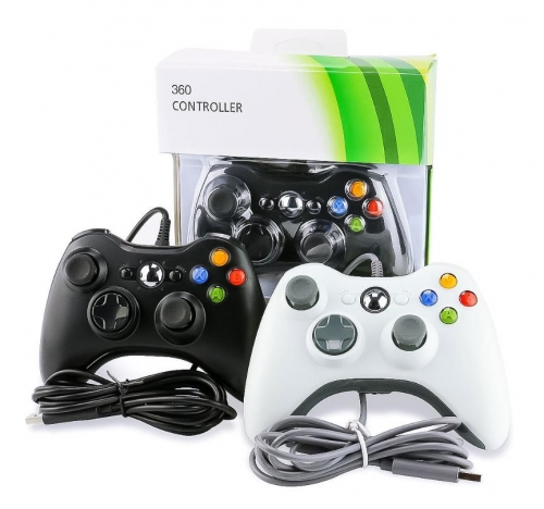 For Microsoft Xbox 360 & Windows PC USB Wired Video Game Controller Pad Black White